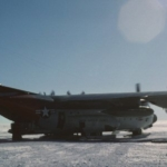C-130 at South Pole awaiting takeoff