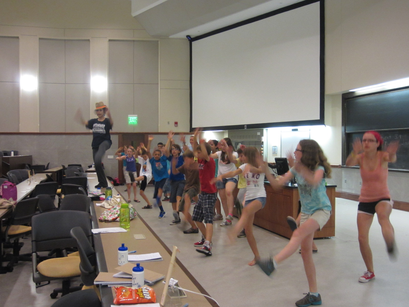 sixth graders learning Beat It choreography